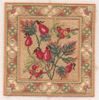 Rose Hips & Bryony - Counted Canvas Work - Petit Point & Long Stitch