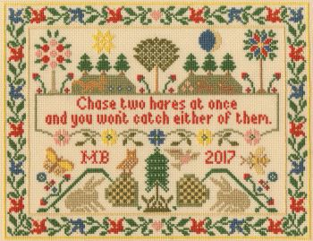 Two Hares - Moira Blackburn Cross Stitch