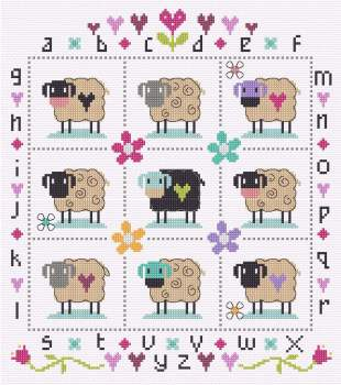 Country Sheep Sampler Cross Stitch