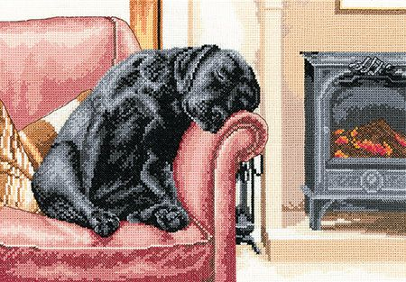 After the Walk - Black Labrador Cross Stitch
