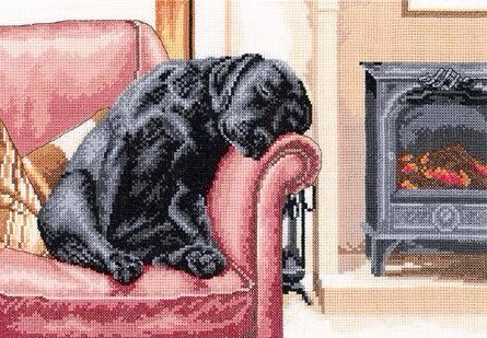 Villager Jim - Black Labrador After his Walk cross stitch kit