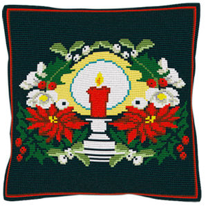 Christmas Candles -  Cross Stitch Kit (printed canvas)