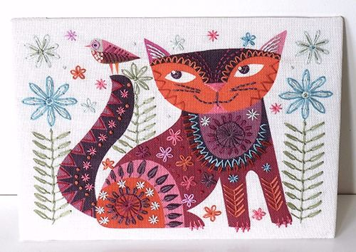 Brown Cat Embroidery Kit - Nancy Nicholson