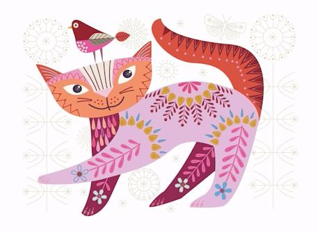 Cat Pink Embroidery Kit - Nancy Nicholson