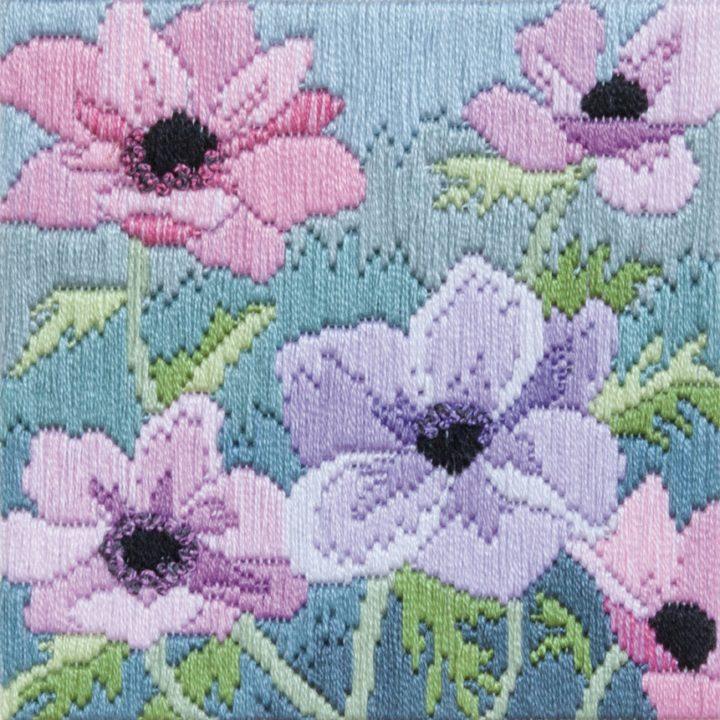 Purple Anemones - Silken Long Stitch