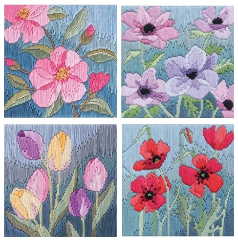 Set of 4 Silken Floral Long Stitch - Derwentwater Designs