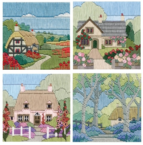 Set of 4 Silken Cottage Long Stitch