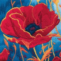 Poppy Head - Wool Long Stitch