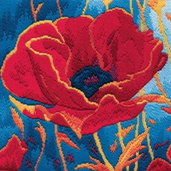Poppy Head - Wool Long Stitch