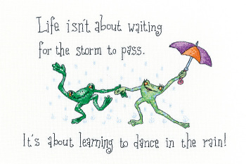 Dancing in the Rain - Frog Cross Stitch