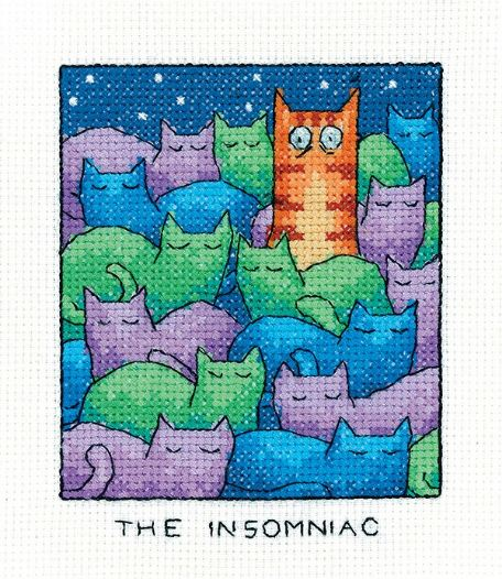 The Insomniac Cat cross stitch kit - Heritage Crafts
