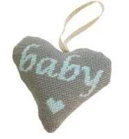 Baby Boy (Blue on Grey) Lavender Heart Tapestry (Buy 2 for £27)