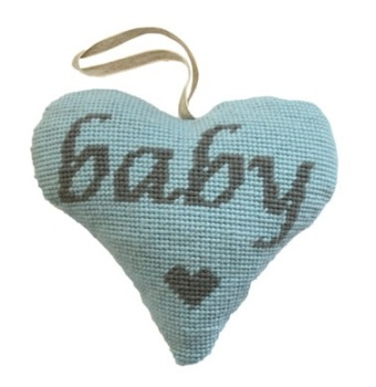 Baby Boy (Grey on Blue) Lavender Heart Tapestry (Buy 2 for £27)