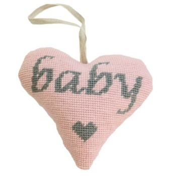 Baby Girl (Grey on Pink) Lavender Heart Tapestry (Buy 2 for £27)