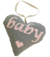 Baby Girl (Pink on Grey) Lavender Heart Tapestry (Buy 2 for £27)