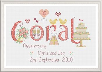 Coral Anniversary 35 Years - Nia Cross Stitch