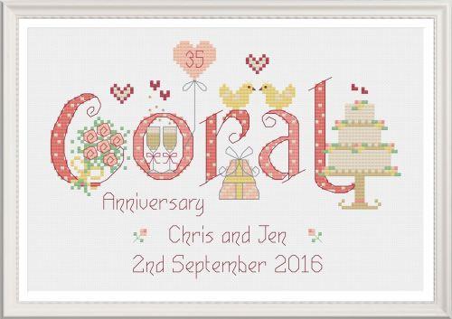 <!-- 024 -->Coral Anniversary 35 Years - Nia Cross Stitch