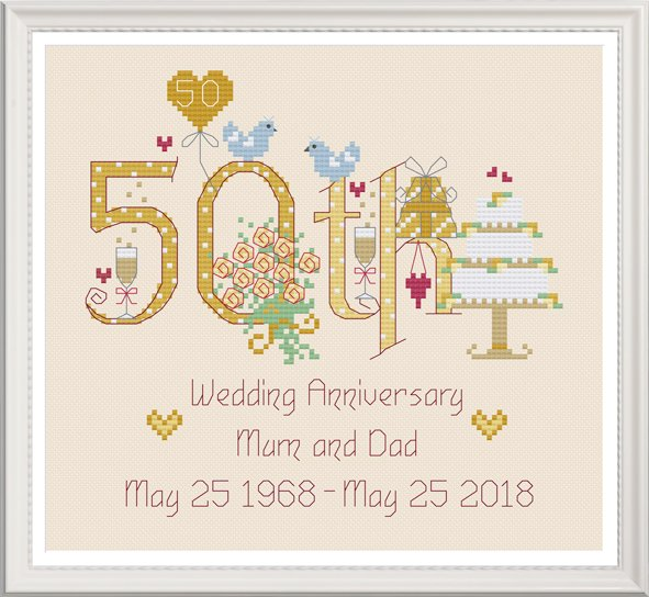 <!-- 027 --> 50th Anniversary Numbers (Golden) - Nia Cross Stitch