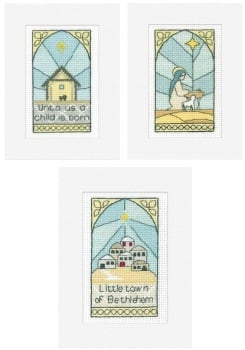 Stained Glass Christmas Cards - (Pack B) Set of 3