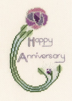 Mackintosh Rose Cross Stitch Card (Birthday/Anniversary)