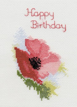 Poppy Cross Stitch Card Kit (Birthday/Anniversary/Good Luck)