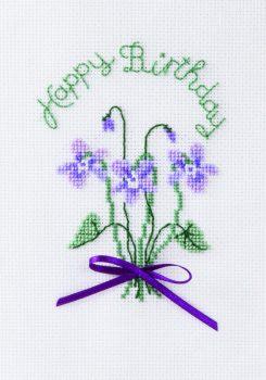 Violets - Birthday Cross Stitch Card Kit