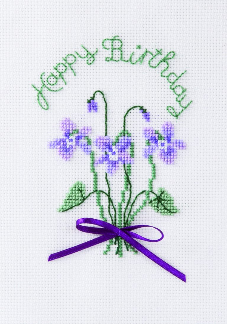 Violets - Birthday Cross Stitch Card Kit