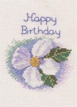 White Clematis Cross Stitch Card Kit (Birthday/Anniversary etc.)
