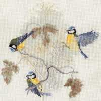 Blue Tits and Seed Heads Cross Stitch