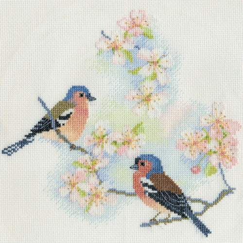Chaffinches and Blossom Cross Stitch