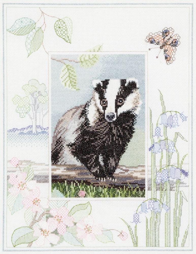 Badger Cross Stitch with Blackwork Border