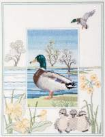 Mallard Duck Cross Stitch and Blackwork