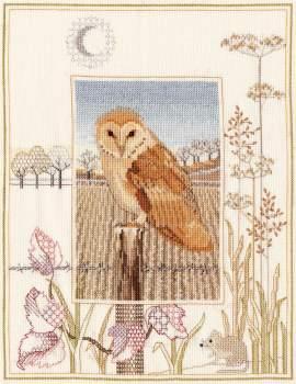 Barn Owl Cross Stitch and Blackwork