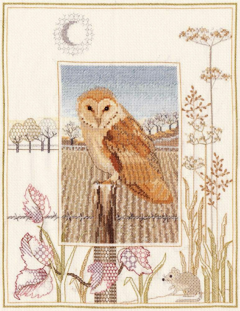 Barn Owl Cross Stitch and Blackwork
