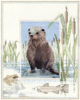 Otter Cross Stitch and Blackwork