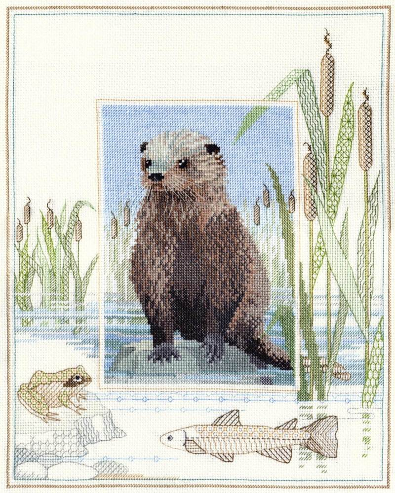 Otter Cross Stitch and Blackwork