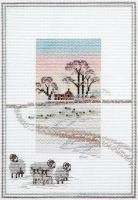 Snowy Sheep - Misty Mornings Cross Stitch