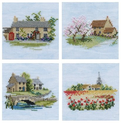 Set of 4 Cottage Mini Cross Stitch Kits