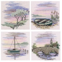 Set of 4 Mini Cross Stitch Kits (Boats)