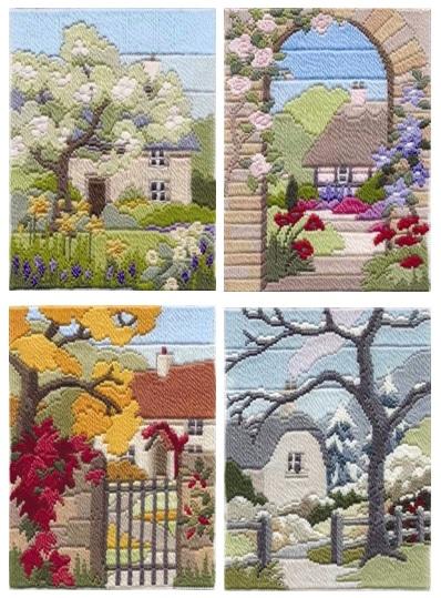 Garden Seasons - Wool Long Stitch Set of Four