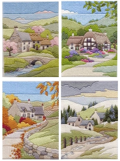 Cottage Seasons - Wool Long Stitch Set of Four