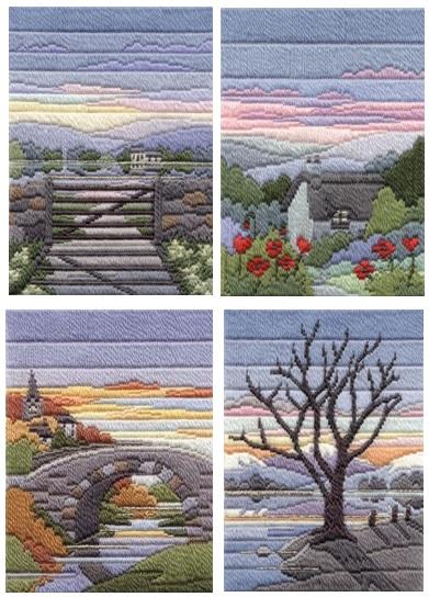 Evening Seasons - Wool Long Stitch Set of Four