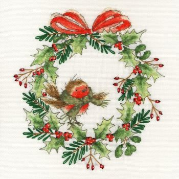 Robin Wreath Cross Stitch - Bothy Threads