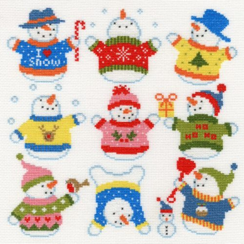 Sightly Dotty Snowmen - Bothy Threads Cross Stitch
