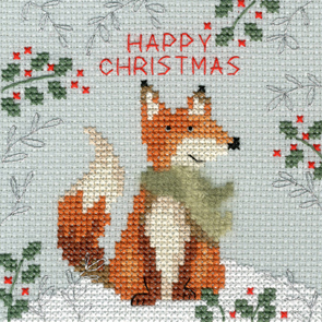 Christmas Fox Cross Stitch Christmas Card