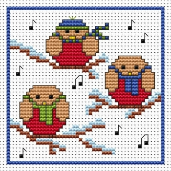 Rockin Robins Christmas Cross Stitch Card