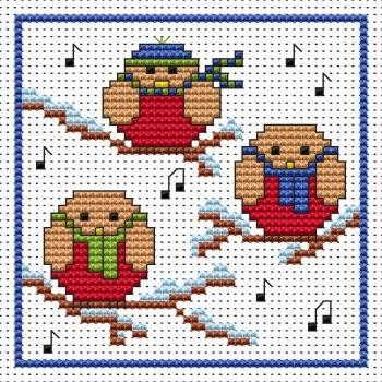 Rockin Robins Christmas Cross Stitch Card