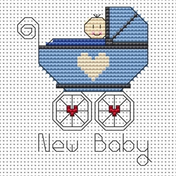 New Baby Boy Cross Stitch Card