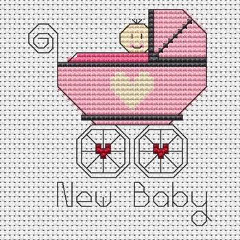 New Baby Girl Cross Stitch Card