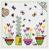 Sidney Snail and Flowerpots Cross Stitch Card